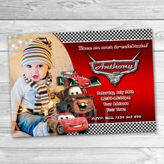 Disney Cars Invitation. Disney Cars Printable. Disney Cars Birthday Party Printable Invites. Lightening McQueen