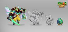 Character design / Concept art made for game Dragon City. Was based in insects like bees, scarab and dragonfly. It was fun to do. Dragon City, Concept Art, Character Design, Bee, Creatures, Illustrations, Artwork, Conceptual Art, Honey Bees