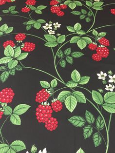 Black tablecloth with raspberries, red raspberries, Scandinavian design, table decor, gift by SiKriDream on Etsy