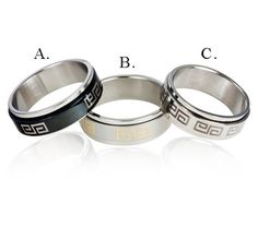 $8.99 - Men's Greek Style Stainless Steel Ring - Available in 3 Style Options