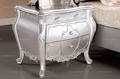 Neoclassical Style Silver Bedroom Nightstand - MelodyHome.com