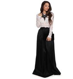 Monica Black Lace And Taffeta Two Piece Prom Dress