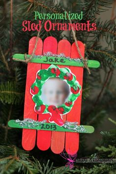 These adorable sled craft ornaments are part of my child care kids parent gifts this year. I always like to incorporate their photos into holiday crafts – it's just amazing how much they change in a year! To make the sled ornaments: Lay 4 wide craft stic Preschool Christmas, Christmas Crafts For Kids, Craft Stick Crafts, Christmas Projects, Christmas Themes, Holiday Crafts, Holiday Fun, Christmas Holidays, Christmas Ornaments