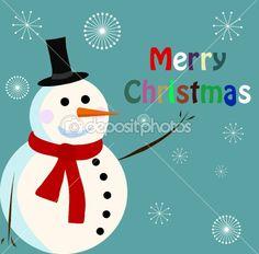 Vector snowman card for christmas — Stock Vector #3714265