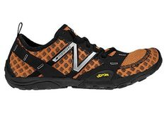 Minimus Trail T10 Orange / Black - Mens  An entirely different approach to trail running, the New Balance Minimus 10 Trail takes the versatile durability of a Vibram outsole and combines it with a fitted, minimalist upper for a lightweight barefoot experience.