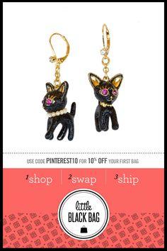 Betsey Johnson Cat Drop Earrings from LittleBlackBag.com :: Cat :: Drop :: Earring :: Black :: Gold