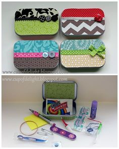 DIY Altoids Tin Emergency Kit Tutorial Cup of Delight here. I like making and getting kits - whether its wrapping paper kits, survival kits, food in a jar etc These are also good assembly line crafts. This is a much smaller version of the gift in a jar post (sewing, energy, relaxation, etc) here. For more Alotid Tins DIYs go here.                                                                                                                                                      More