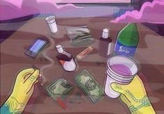 Kush and Coffee Trippy, Stoner Art, Dope Cartoons, Poetry Art, Dope Wallpapers, Cough Syrup, Dope Art, Sad Drawings, Pencil Drawings