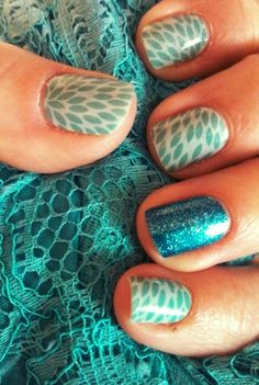 """Adorable & afordable nails with 250+ designs and hundreds of possibilities! """"Lotus & Teal Sparkle"""". Come check out Jamberry Nails! http://chicmedic.jamberrynails.net/?ref=ChicMedic"""