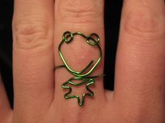 Wire Wrapped Kermit The Frog MADE to ORDER Adjustable Ring Small on Etsy, $8.00