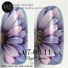 Light violet and blue Margery nail art 3d Nail Art, Cool Nail Art, Sunflower Nail Art, Sculpted Gel Nails, Nailart, Nail Studio, Purple Nails, Cute Nail Designs, Flower Nails
