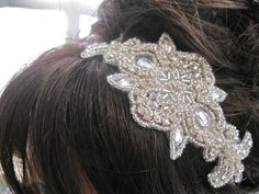 Rhinestone Beaded Headband, Crystal Wedding  Headpiece, Bridal Tiara, Applique Headband. $35.00, via Etsy.