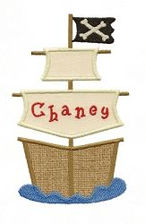 Pirate Ship Applique - 3 Sizes! | Boats | Machine Embroidery Designs | SWAKembroidery.com Applique for Kids