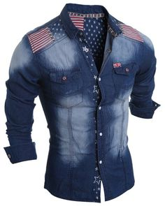 Turn-Down Collar Bleach Wash Stars Print Long Sleeve Stripe Splicing Denim Shirt For Men