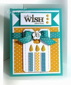 Stamps: MDS Birthday Candles Paper:  Bermuda Bay, Crushed Curry, Whisper White, DSP Ink: n/a Accessories: bermuday bay ribbon, flower button, linen thread, brads, glitter Tools:  Big Shot, Chalk Talk frame, dimensionals