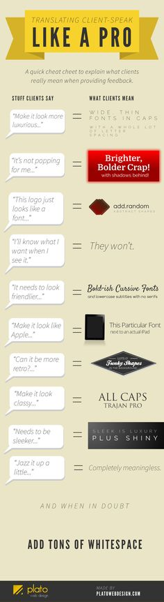 "We've all heard stories of people who look at a website mockup and say something like ""It needs more pop!"" or ""Make it sleeker,"" without being specific about what they're looking for. It can be a pain, but this tongue-firmly-in-cheek graphic translates those phrases to language you can actually use."
