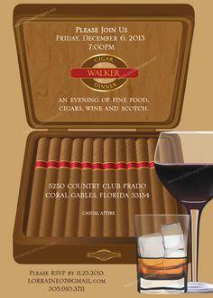 Cigar Box Party Invitation 25 Quantity  by SocialImagesInc on Etsy, $37.50