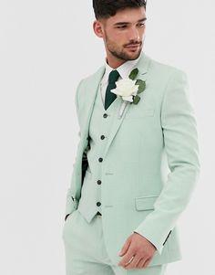 ASOS DESIGN wedding super skinny suit jacket in green cross hatch Best Wedding Suits For Men, Green Wedding Suit, Prom Suits For Men, Mens Casual Suits, Stylish Mens Outfits, Mens Suits, Wedding Kurta For Men, Wedding Tuxedos, Groom Suits