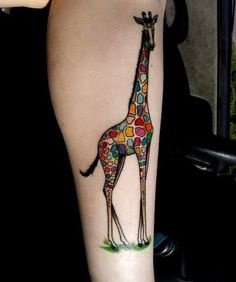 rainbow giraffe by Bryan Mozjesik at Big Brain in Omaha NE.not a fan of the giraffe, but LOVE the color Piercing Tattoo, Get A Tattoo, Tattoo You, Tattoo Quotes, Piercings, Body Art Tattoos, New Tattoos, Sleeve Tattoos, Tatoos