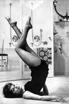 1948: Gina Lollobrigida, an Italian actress & sex symbol (vintage yoga style photo) ...... #vintageyoga #yogahistory #1940s #yogaworld #om #namaste #yoga