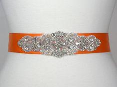 Wedding Belt Orange Bridal Belt Bridal Sash by PrettyCountryBridal