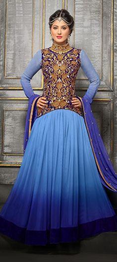 anarkali #blue #indigo #shading #floral #embroidery #FauxGeorgette, #stonework #armor