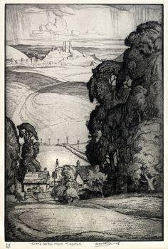 Corfe Castle from Kingston, Dorset - Leslie Moffat Ward - Russell-Cotes Art on Demand