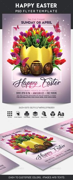 Happy Easter Flyer Template AI, PSD - A4 Flyers+Leaflets
