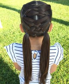 Cool, little girls basket weave pigtails. Super cool!