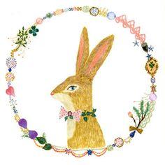 Rabbit in garland.