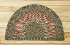 Rug Slice Green and Burgundy Jute Braided Earth Rug®