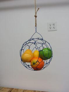 Dark Blue Hanging Wire Sphere Basket by CharestStudios on Etsy, $49.00