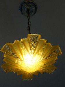 Consolidated glass co. | 30's Consolidated Glass Co. Art Deco Antique Ceiling light fixture ...