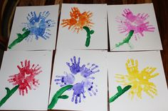Spring Preschool Craft. Hand print Flowers