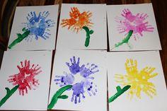 Spring Preschool Craft. Hand print Flowers