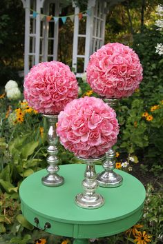 Pink kissing balls and mercury glass for a wedding centerpiece  Beautiful and affordable. www.somethingborrowedmn.net