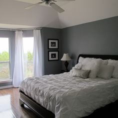 Love this colour in the bedroom - looks dark and saucy around bed head and around windows with natural light looks quite light - white makes it pop pop pop! Home Bedroom, Master Bedroom, Bedroom Decor, Bedroom Ideas, Old House Decorating, Decorating Ideas, Decor Ideas, Interior Design Inspiration, Decor Interior Design