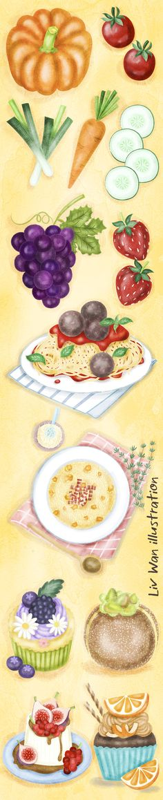 Delicious Vegetables, fruit, food and desserts illustrations for my first food illustration online tutorials. Liv Wan Illustration: http://www.livwanillustration.com
