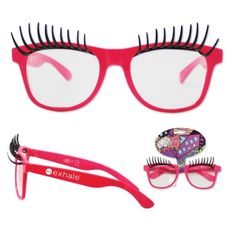 Sun-Staches Pink Frame Lashes Sun-Staches Toy Fun Glasses Party Costumes