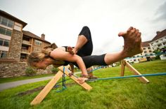 slackline:    (via Slackline Yoga Workshop with Erika Dixon - Yogi Roots – Portland, OR)    This is the coolest thing I have ever seen.