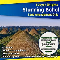 3 DAYS STUNNING BOHOL Minimum of 2 persons  For more inquiries please call: Landline: (+63 2)282-6848 Mobile: (+63) 918-238-9506 or Email us: info@travelph.com #Bohol #Philippines #TravelPH #TravelWithNoWorries Bohol Philippines, Round Trip, Tours, Day, Travel, Viajes, Destinations, Traveling, Trips
