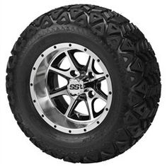 Golf Carts Ideas | 12 Gloss Black  Machined Aluminum Golf Cart Wheel  Black Trail Tire Combo -- Click image to review more details. Note:It is Affiliate Link to Amazon. #BrowseOurUltimateGolfCarts