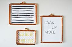 If you still want to visually separate your artwork from the wall, these DIY copper frames from A Joyful Riot are simple to make. See more at A Joyful Riot »   - HouseBeautiful.com