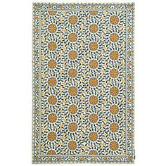 @Overstock - Hand-hooked rug has a transitional design Majestic rug features an ivory background Floor rug is made from a pure virgin wool pilehttp://www.overstock.com/Home-Garden/Hand-hooked-Majestic-Ivory-Blue-Wool-Rug-79-x-99/3701501/product.html?CID=214117 $291.59