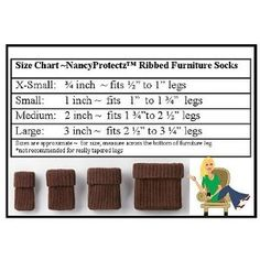 NancyProtectz Small/Brown, Patented with Rubberized Grips/Chair Leg Hardwood Floor Protectors. The Original Furniture Sock Crochet Fabric, Crochet Home, Crochet Patterns, Knit Crochet, Knitting Projects, Crochet Projects, Chair Leg Covers, Chair Socks, Floor Protectors For Chairs