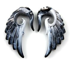 Pair Acrylic Marble look Angel Wing Design Ear Taper Plugs Gauges - 2G: Jewelry: Amazon.com