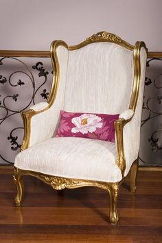 Gilt Louis XV WingBack, White Velvet