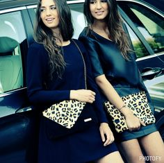 Vestido de cuero y vestido de punto, con bolsos de animal print! www.amichi.es
