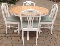 Quality ducal shabby chic solid pine round extending dining table and   4  chairsBeautiful Solid Pine Ducal Table   6 Chairs Painted in Annie Sloan  . Pine Dining Table Round Extending. Home Design Ideas