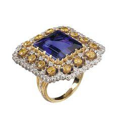 #SilabaGems #Buccellati Tanzanite, sapphires and diamonds gorgeous ring by Buccellati.